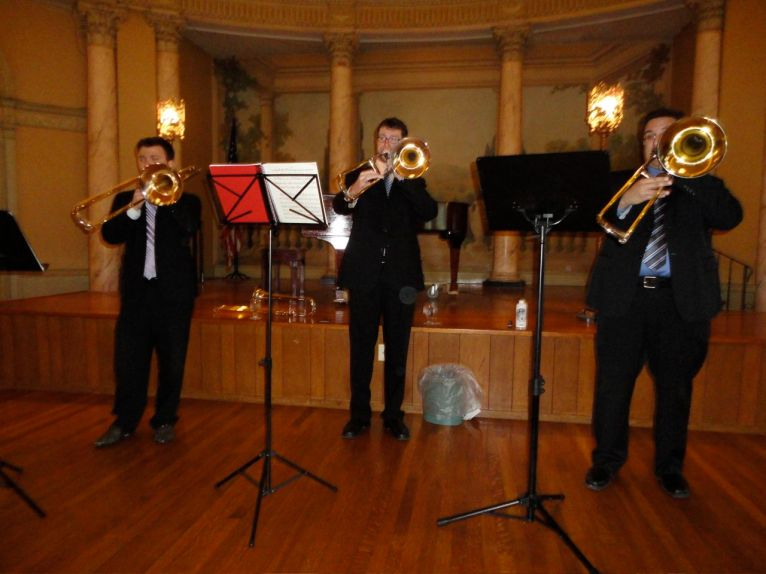 BPO trombones playing at luncheon for Friends of the Amherst Symphony