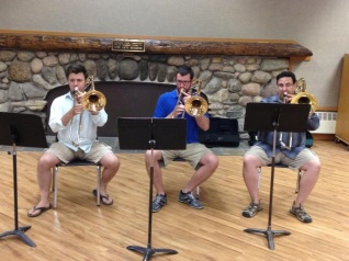 BPO trombone section class at Interlochen Arts Academy, 2013 (Jonathan Lombardo, myself, Jeff Dee)