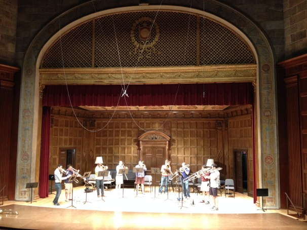 Great Lakes Trombone Choir dress rehearsal at ITF 2014